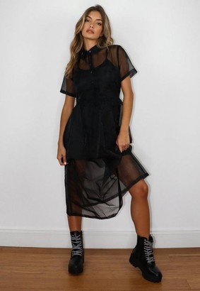 Missguided Black Organza Shirt Midi Dress