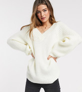 Asos Design DESIGN Tall v neck fluffy oversized sweater