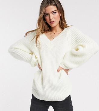Asos DESIGN Tall v neck fluffy oversized sweater