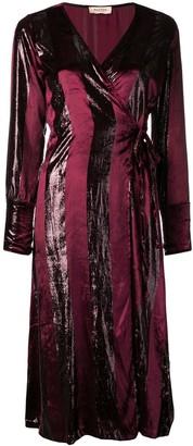 Black Coral striped wrap dress