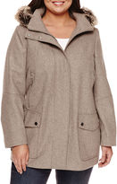 A.N.A a.n.a Fur Trim Casual Zip Wool Coat - Plus