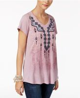 Style&Co. Style & Co Embroidered Graphic-Print Top, Only at Macy's