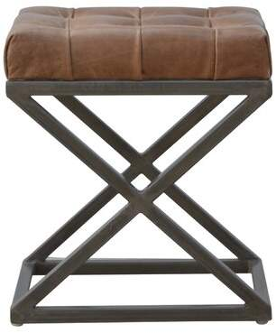 Crisman Industrial Cross Base D-Button Genuine Leather Upholstered Dining Chair 17 Stories