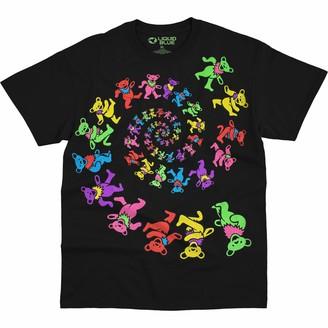 Liquid Blue Unisex Adult Grateful Dead Spiral Bears Blacklight T-Shirt T Shirt