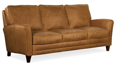 """Thumbnail for your product : Bradington-Young Zion 87"""" Flared Arm Sofa Fabric: Flint Nature, Leg Color: Stone"""