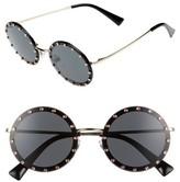 Valentino Garavani Women's Valentino 52Mm Crystal Embellished Round Sunglasses - Gold/ Grey