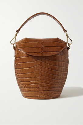 S.JOON Milk Pail Croc-effect Leather Tote - Light brown