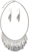 Yours Clothing Silver Layered Leaf & Earring Set