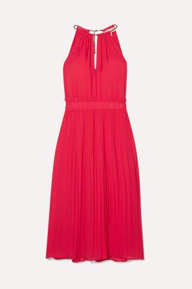 MICHAEL Michael Kors Hayden Chain-embellished Pleated Georgette Dress - Papaya