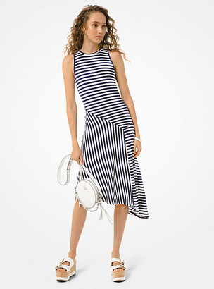 Michael Kors Striped Matte-Jersey Asymmetric Dress