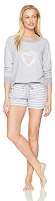 Mae Amazon Brand Women's Sleepwear Screen Print Sweatshirt and Short Pajama Set