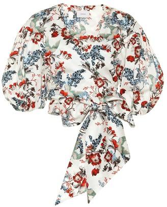 Erdem Cylenne floral cotton-poplin crop top