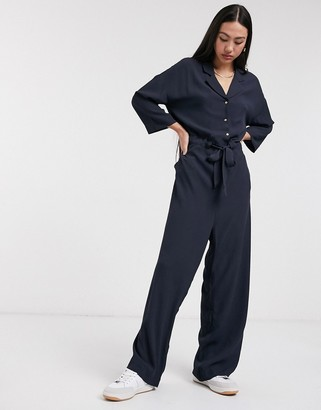 Selected Julia 3/4 sleeve jumpsuit in navy
