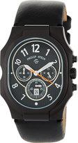 Philip Stein Teslar Large Classic Chronograph Watch w/ Calfskin Strap, Black