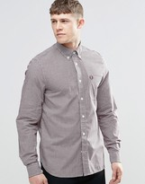 Fred Perry Shirt In Slim Fit Gingham Mahogany