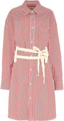 Plan C Striped Poplin Shirtdress