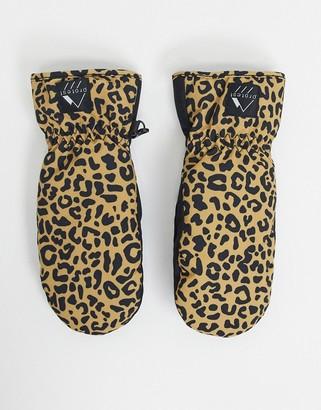 Protest Tanya leopard ski mitten in brown