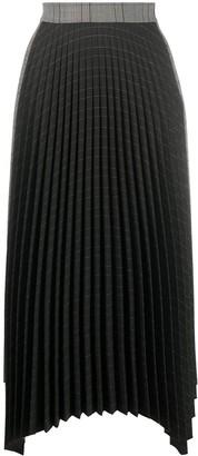 Mrz Plisse Tartan Midi Skirt
