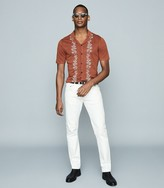 Reiss Boone - Embroidered Cuban Collar Shirt in Copper