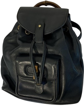 Gucci Bamboo Black Leather Backpacks