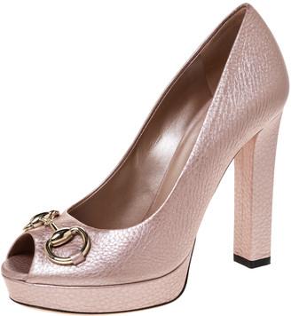 Gucci Pink Leather Horsebit Peep Toe Platform Pumps Size 36