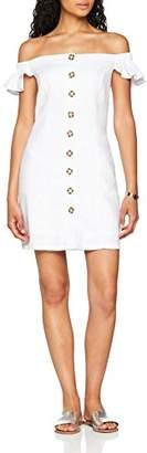 Miss Selfridge Women's Bardot Button Party Dress, White, 6