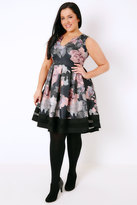 Yours Clothing Black & Multi Floral Print Skater Dress With Notch Neck & Mesh Panel
