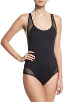 Carmen Marc Valvo Sporty Soul Mesh Zip-Back One-Piece Swimsuit