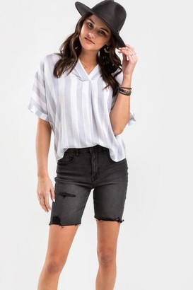 francesca's Torie Distressed Bermuda Shorts - Black