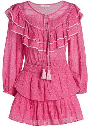 LoveShackFancy Luca Floral Ruffle Mini Peasant Dress