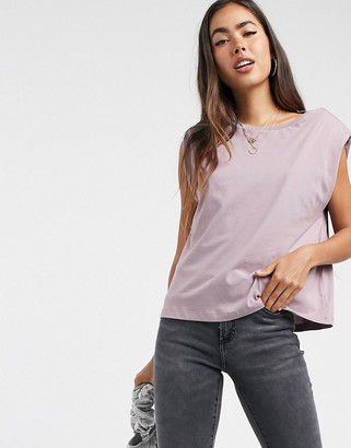 Vero Moda t-shirt with shoulder pads in mauve