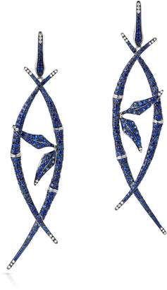 Swarovski x Stephen Webster White Gold, Diamond and Blue Sapphire Bamboo Shoot Drop Earrings
