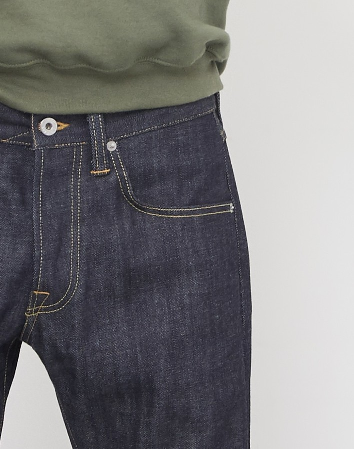 Edwin ED-55 Regular Tapered Red Listed Selvage Denim Jeans Unwashed Blue