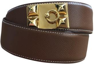 Hermes Collier de chien Camel Leather Belts