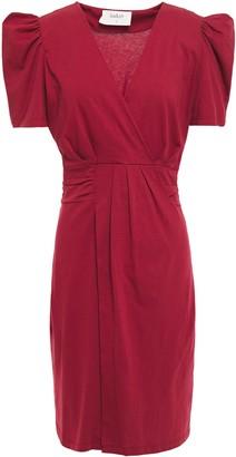 BA&SH Wrap-effect Gathered Cotton-jersey Mini Dress
