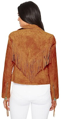 Blank NYC Suede Moto Jacket w/ Fringe (Buttercup) Women's Coat