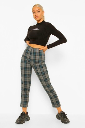 boohoo Checked Woven Slim Fit Trousers