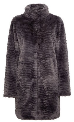 Dorothy Perkins Womens Slate Longline Faux Fur Coat
