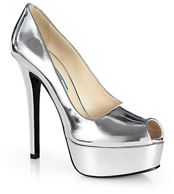 Prada Metallic Leather Platform Pumps