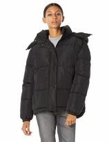 Royal Matrix Women's Ultra Light Weight Puffer Jackets Removable Hooded Short Coat (Black 8-10)