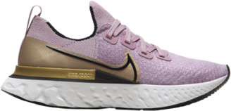 Nike React Infinity Run Flyknit Running Shoes - Plum Fog / Black Metallic Gold