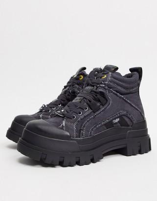Buffalo David Bitton Aspha flat ankle boots in washed denim