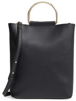 Topshop Faux Leather Tote - Black
