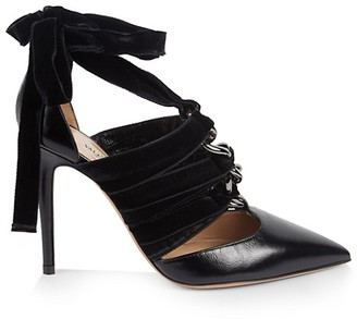 Valentino Strappy Velvet Leather Lace-Up Pumps