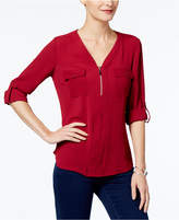 NY Collection Petite Zipper Top