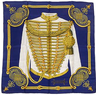 One Kings Lane Vintage Hermes Brandebourgs Scarf - Vintage Lux - blue/gold