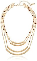 "Steve Madden Gold 4 Row Textured Agate Crescent Necklace, 15"" + 3"" Extender"