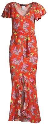 Etro Painted Floral Silk-Blend Wrap Dress
