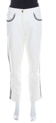 Escada White Contrast Embroidered Denim Straight Fit Jeans L