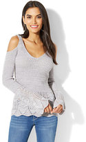 New York & Co. Cold-Shoulder Bell-Sleeve Sweater